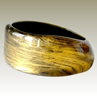Big Lucite Bangle  Gilt Gold Swirl Abstract Variable Width