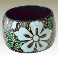 Wide 2 Inch Bangle Bracelet  Bright Blue Flowers on Black
