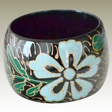 Wide 2 Inch Bangle Bracelet  Bright Blue Flowers on Black