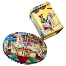 Two Miniature Tin Boxes Carousel Horse and Christmas Theme
