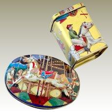Two Miniature Tin Boxes Carousel Horse and Christmas Theme