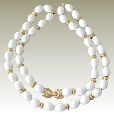 Vintage Monet Necklace  on Chain White Lucite