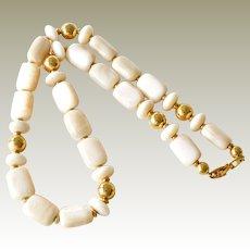 Necklace Napier Lucite Oblong Cream Beads 23