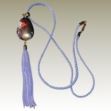Silk Necklace Cloisonne Pendant Lovely Lavender