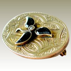 Antique Mourning Pin Pendant 14k Gold Onyx and Pearl