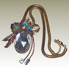 Necklace with Massive Pendant Pin Thick Snake Chain