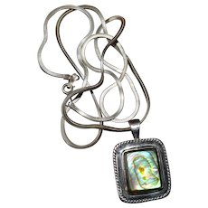 Necklace Abalone Paua Shell Pendant Sterling Silver 24 Inches