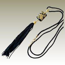 Necklace with Long Tassel Cloisonne Pendant