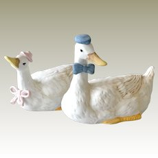 Vintage Mr and Mrs Duck Bisque Figurines Larger Size Handpainted