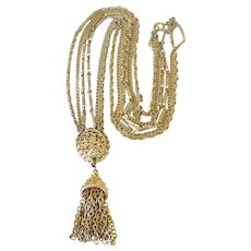 Vintage Necklace Kramer Three Strand Tassel