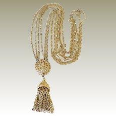 Vintage Necklace Kramer Three Strand Tassel
