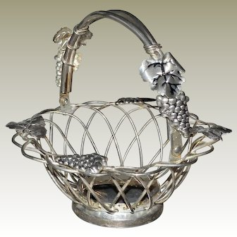 Metal Basket with Grape Clusters and Leaves