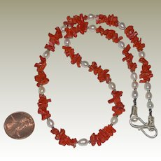 Necklace Coral Chips and Freshwater Pearls Sterling Silver
