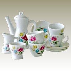 Porcelain Childs Tea Set with Roses Vintage Japan