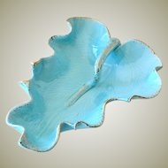 Large Vintage Candy Dish Leaf Form Turquoise with Gold Trim