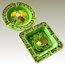 Pair Majolica Style  Ashtrays  Incised Japan