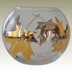 Vintage Glass Vase with Large Maple Leaves in Gold