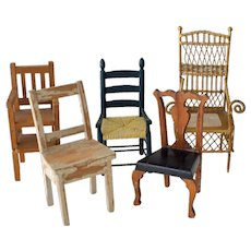 Five Wood and Wire Dollhouse Chairs