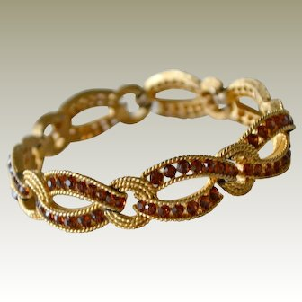 Vintage Trifari Bracelet Topaz Rhinestones Cavalcade Collection