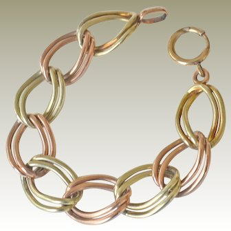 Bracelet Vermeil Double Link Rose and Yellow 14K Gold