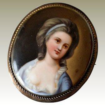 Large Porcelain Portrait Pin Brooch Pretty Victorian Miss