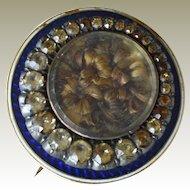 Antique Mourning Woven Hair Pin Pendant Blue Guilloche Enamel 10K Rose Gold