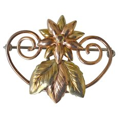 Vintage Rose and Yellow Gold Fill Pin Flower and Leaves