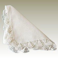 White Linen Hanky Crochet Edging