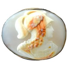 Large Antique 10K Carved Shell Cameo Brooch