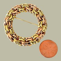 Hefty Woven 14K Two Tone Gold Brooch 25 Plus Grams