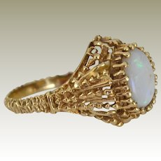 Opal Ring 14K Gold Exquisite One of a Kind Setting