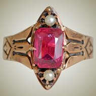 Victorian 14K Ring Pink Stone and Pearls