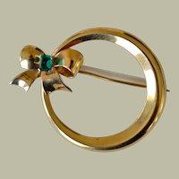 Circle Brooch  Pin 14k Emerald Bow