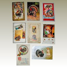 Eight Thanksgiving Postcards All With Turkey