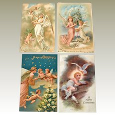 Four Christmas Angel Postcards One Tuck One Undivided Back with Eagle
