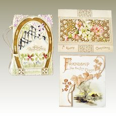 Three Small Christmas Embossed Greeting Cards