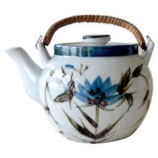 Asian Inspired Tea Pot Hand Painted with Lotus Flowers and Foliage
