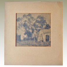 Old Pencil Landscape Drawing Large Trees Barn or Shed