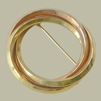 Circle Pin 14k Rose and Yellow Gold Two Tone