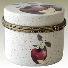 Small Trinket Box with Apples Slices and Flowers