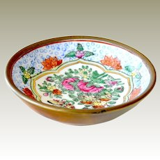 Small Enamel on Brass Bowl Dish Butterfly and Flowers