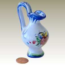Miniature Pitcher Blue with Hand Painted Flower