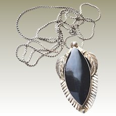 Necklace with Pin Pendant and Chain Sterling Silver Mexico
