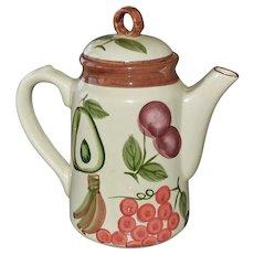 Vintage Teapot with Hand Painted Fruit Tea Pot