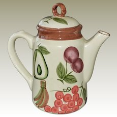Vintage Teapot with Hand Painted Fruit