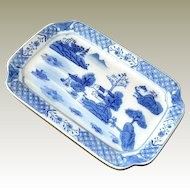 Chinese Tray Hand Painted Blue and White with Landscape