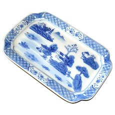Chinese Tray Hand Painted Blue and White Oriental Landscape