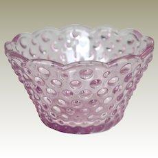 Small Pink Hob Nail Glass Bowl