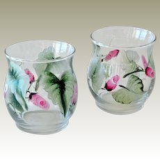 Pair Miniature Glass Vases Hand Painted Pink Rose Buds
