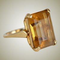 Citrine Ring F & F Felger 14K Yellow Gold Large Emerald Cut